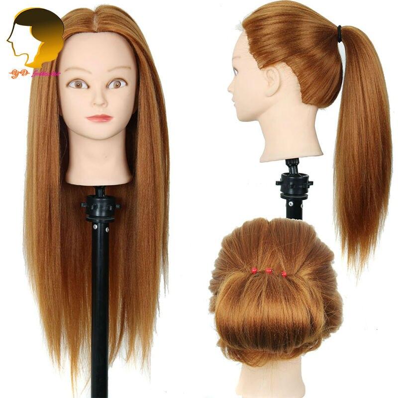 Formation Tête Synthétique Cheveux Tête de Mannequin Pour La Pratique Mannequin Coiffures Cheveux Longs Et Naturel Tête De Formation Pour Coiffeur