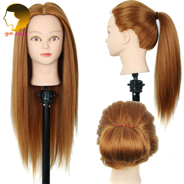 Training Head Synthetic Hair Mannequin Head For Practice Dummy
