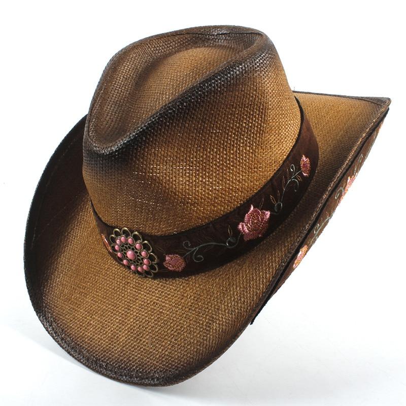 Paja de las mujeres Sombrero de vaquero occidental verano elegante señora vaquera  Sombrero Hombre gorras con bordados hechos a mano sombreros en Sombreros ... f21e311dab0