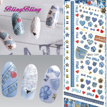 2pcs Blue Nail Art Water Transfer Nails Sticker Stamping Jean Demin Pattern Nail Wraps Harajuku Fingernails Decals