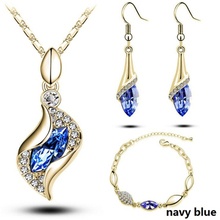 Top Quality Elegant luxury design new fashion colorful Austrian crystal drop Gold Chain jewelry sets women