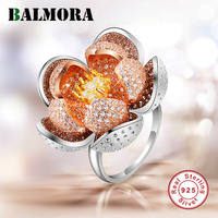BALMORA 925 Sterling Silver Flower Zircon Rings for Women Statement Ring Party Gift Elegant Fashion Jewelry Anillos JWSR2417