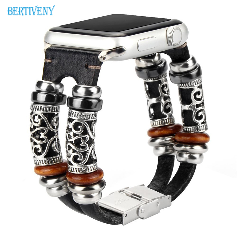 Vintage Beads Bracelets Band for Apple Watch 42mm 38mm Genuine Leather band for iwatch Strap Series 1 2 3 a suit of vintage devil eye faux leather beads bracelets for men