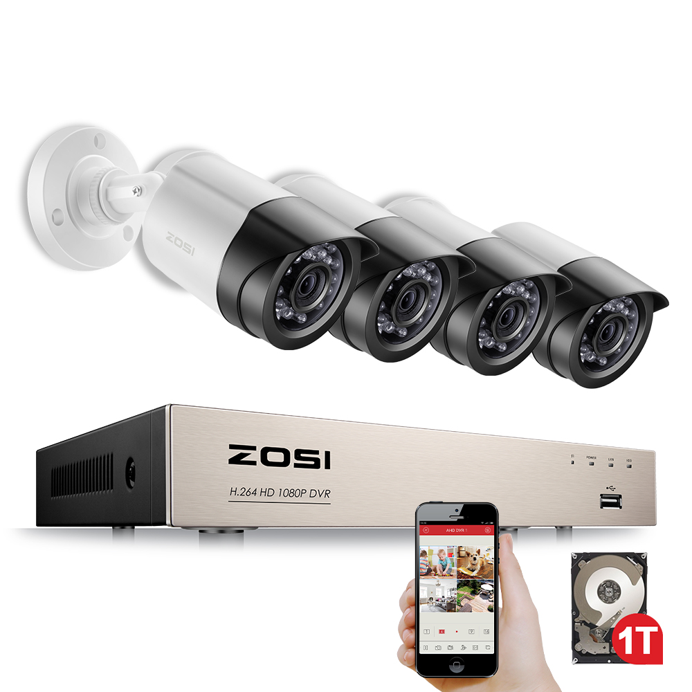 ZOSI 4CH 1080P TVI CCTV System 2.0MP Outdoor IP Camera HD 1080P DVR Recorder Video Security Camera Surveillance System w/ 1TB