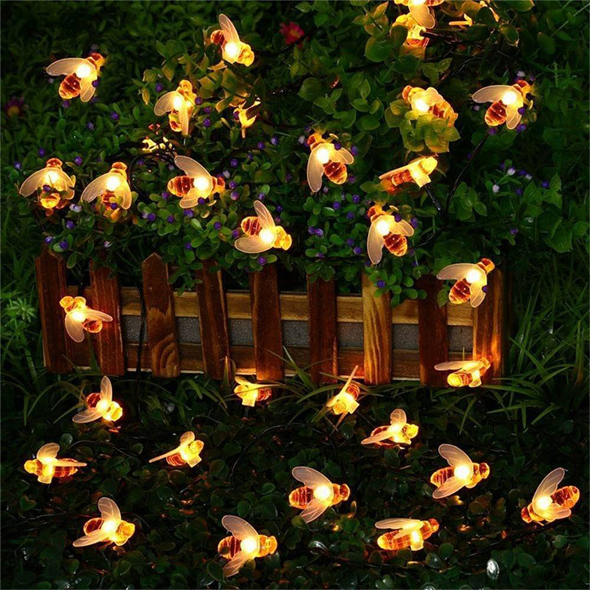 10leds 20leds 30leds 40leds Battery Operated Bee Shaped Led String Lights  Waterproof Outdoor Christmas Holiday Garden Light
