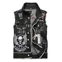 hot sell Men's skull embroidery black fringe denim vest Trendy patches patchwork rivet letters slim waistcoat Tank top