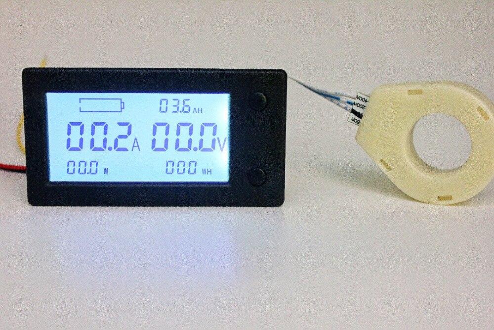 Medidor de watt-hora da eletricidade da potência do coulômetro da capacidade da bateria do amperímetro do voltímetro de digitas de dc 300v 100a 200a 400a com sensor do salão