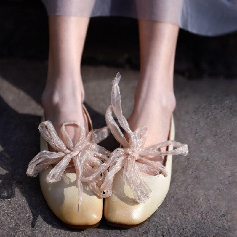 Artmu Original nouvelles chaussures pour femmes trois façons de porter des chaussures à semelle souple peu profonde en cuir véritable croisé chaussures plates confortables-in Chaussures plates femme from Chaussures    3