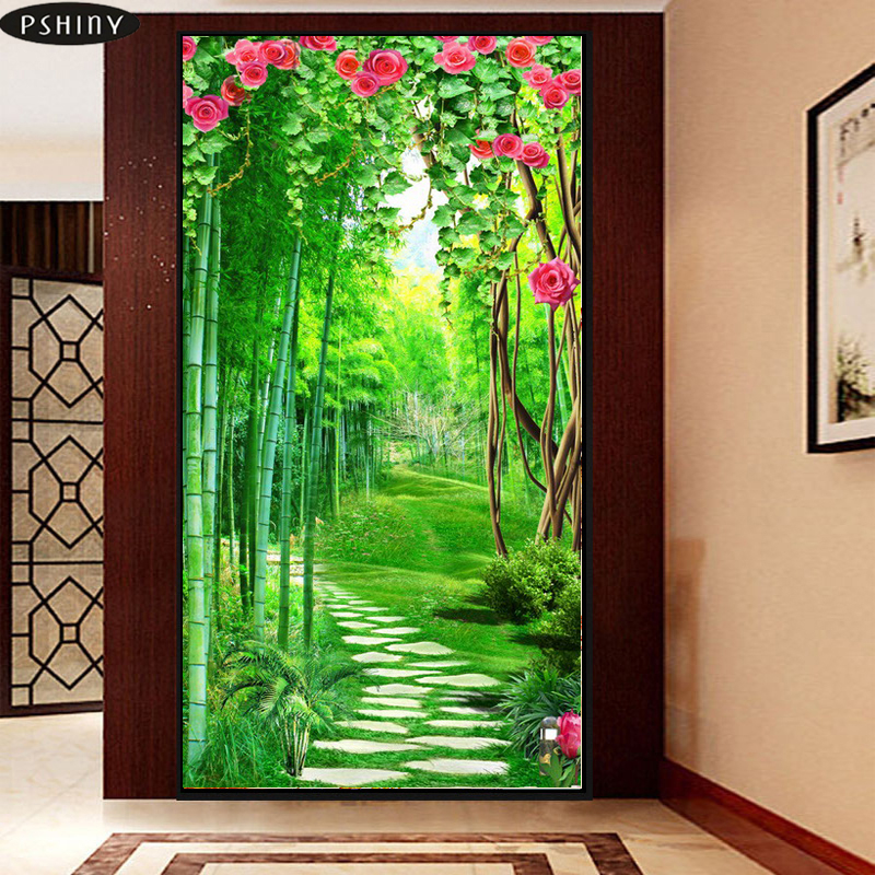 Diamond Painting Cross Stitch Needlework Diy Diamond Painting Cross Stitch 5d Diamond Embroidery Bamboo Road Landscape Full Square Resin Drill Mosaic Picture Home & Garden