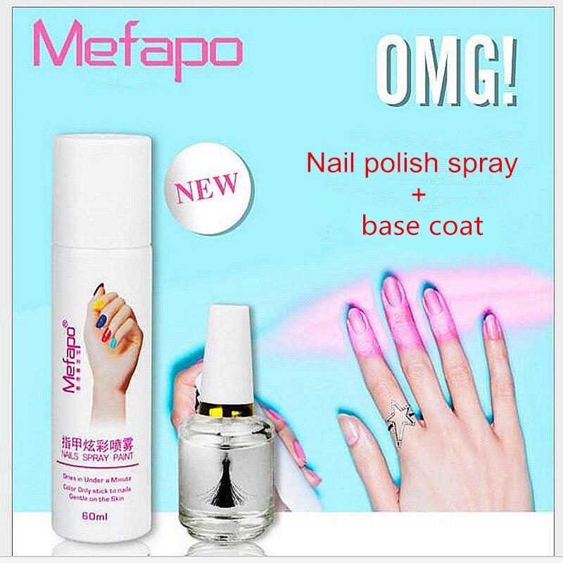 2pcs/set New styles perfect 60ML Nail spray polish + base coat easy ...