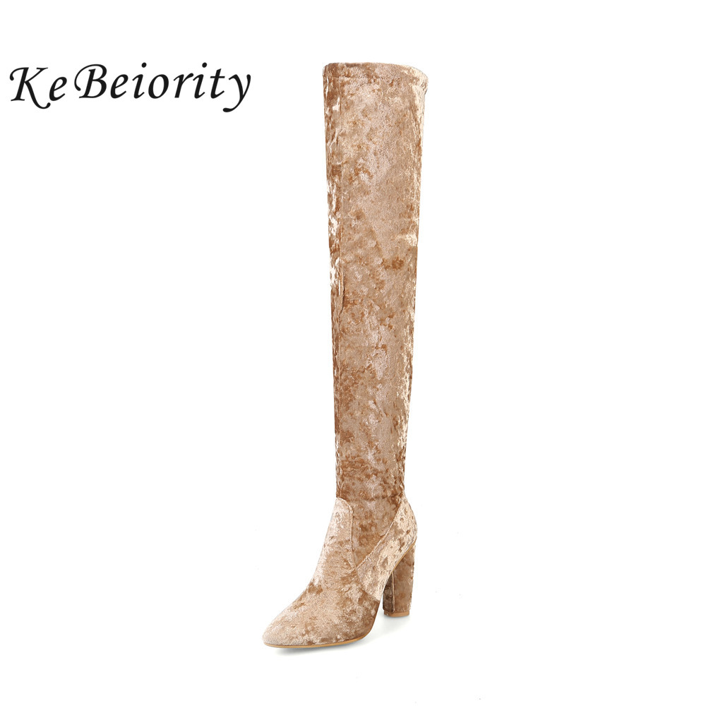 KEBEIORITY Sexy High Heels Boots Women Over the Knee Velvet Boots Blue Black Pointed Toe Boots Shoes Fashion Knee-High Boots new arrival high quality over the knee women boots sexy pointed toe shoes stiletto high heels blue denim jeans women boots