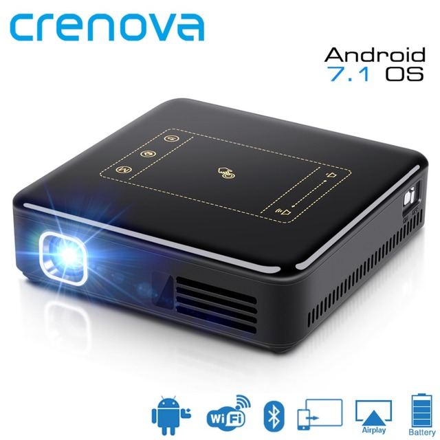 Cheap CRENOVA 2018 Newest DLP Projector For Full HD 4K With Android 7.1 WIFI Bluetooth Mini Portable Projector 8000 mAh Battery Beamer
