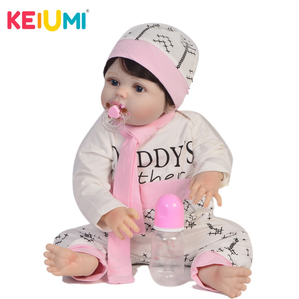 KEIUMI 57 cm Realistic Doll Reborn Handmade Full Silicone Reborn Baby Dolls Girl 23 Fashion Baby