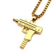 2017 Hot Sale handgun Necklace Gold Chain Hip Hop Long Necklace Fashion SUPREME Pistol Pendant Maxi Necklace HIPHOP Jewelry