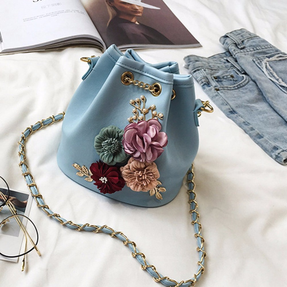 Detail Feedback Questions about Female Bucket Bag Lovely Sweet Flower  Decoration Shoulder Bag With Chain Drawstring Small Cross Body Bag Women s  leather Bag ... d43a6590c1a2