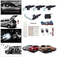 Car Central Door Lock Remote Keyless Entry System Conversion With 4 Actuators 2 Remote Controllers For 2/3/4 Doors Car