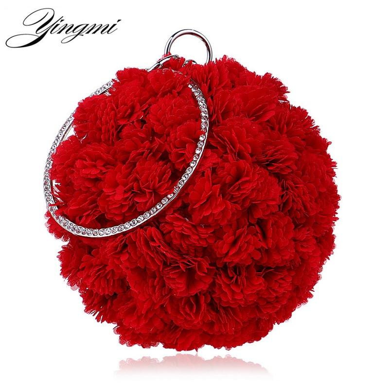 YINGMI Flower Party Women Bag Crystal Round Small Day Clutch Wedding Bridal Chain Shoulder Handbags One Side Purse Bag