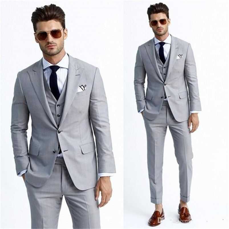 Brand New Light Grey Groom Tuxedos High Quality Groomsmen Suit Custom Made Mens Wedding Prom Suits (Jacket+Pants+Vest)