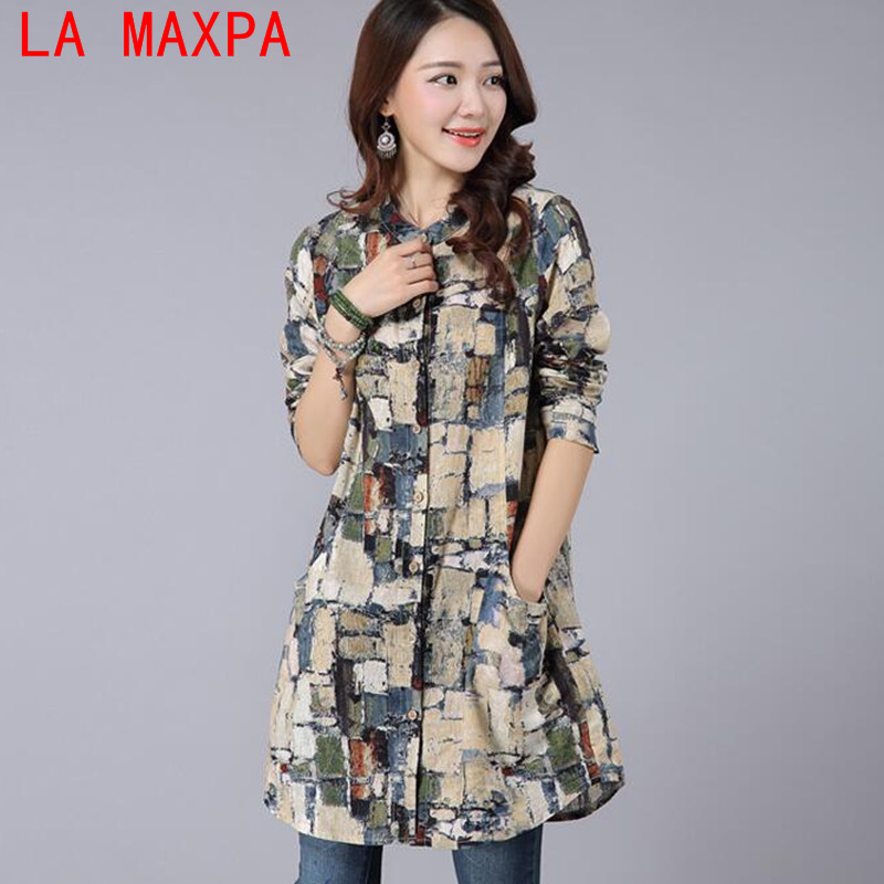 Clothes For Women Of Large Sizes 2018 Long Style Slim Cotton Linen Shirt Blusas Vintage Printed Collar Shirt Tops For Women