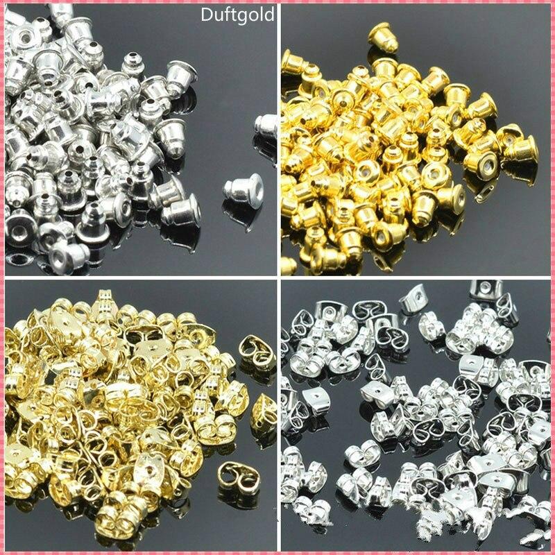 200 Pcs/lot Alloy Earring Backs Bullet Stoppers Earnuts Earring Plugs Diy Gold Silver Plated Findings Fashion Jewelry Accessorie