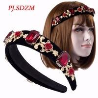 Unique Fashion Baroque Luxury Red Rhinestone Metal Flower Hairbands Bridal Wedding Crystal Headbands Vintage Hair Accessory