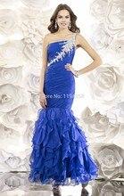Elegante 2016 Blau Schulter Meerjungfrau Abendkleider Chiffon Perlen Prom Party Kleid vestidos de fiesta Sexy Open Back