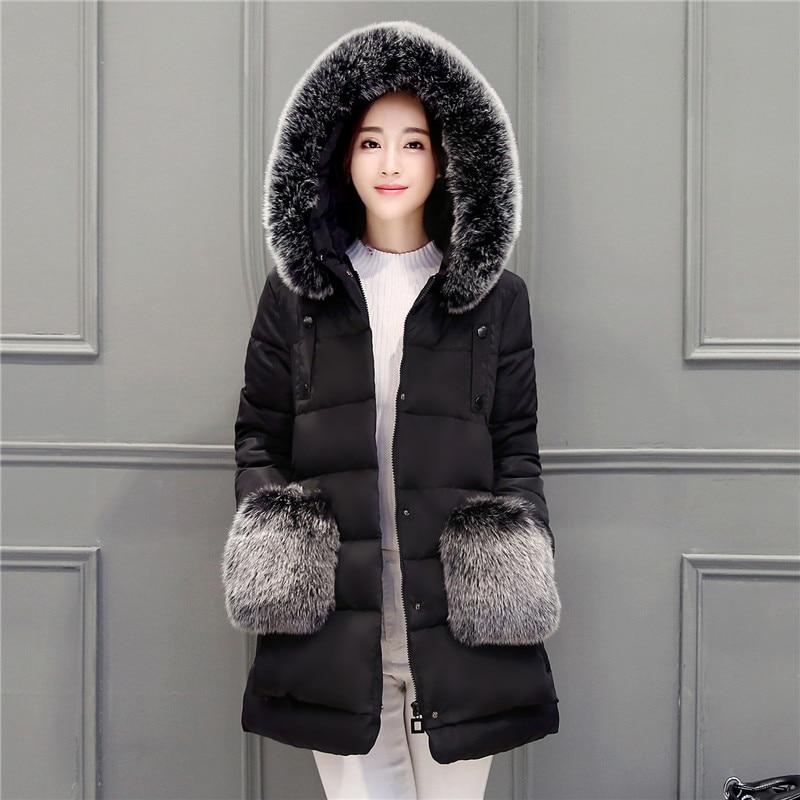 ФОТО Winter Jacket Women 2016 New Design Women Coat Parka Womens Fur Hooded&Pocket Duck Coats Women Loose Long Parkas Coat