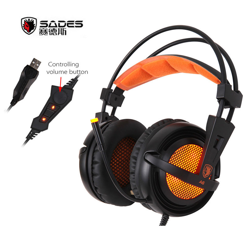 Sades A6 USB Gaming Headphones 7.1 Virtual Surround Sound Professional Gamer Headsets with Mic Breathing LED Lights for PC Gamer