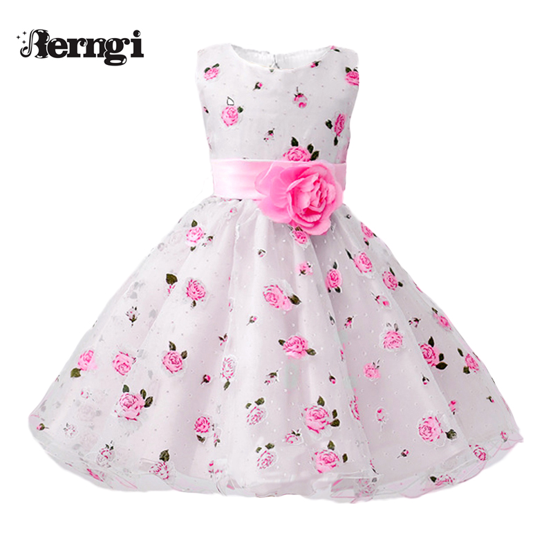 Berngi Summer Dress For Girls School Wear Children Wedding And Holiday Clothing Kids Birthday Party Dresses For Size 3-8 Years