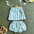Baby girl Strapless jacquard tassels suit girls summer stripe fashion clothing set children boob tube top tube dress and shorts