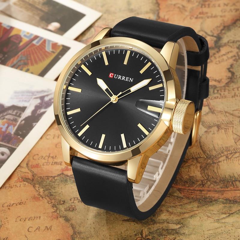 Curren Luxury Brand Watch Men Fashion Casual Big Dial Gold Mens Watches Top Brand Luxury Sports Quartz-Watch Wrist Watch 8208 curren 8223 casual big dial men quartz watch
