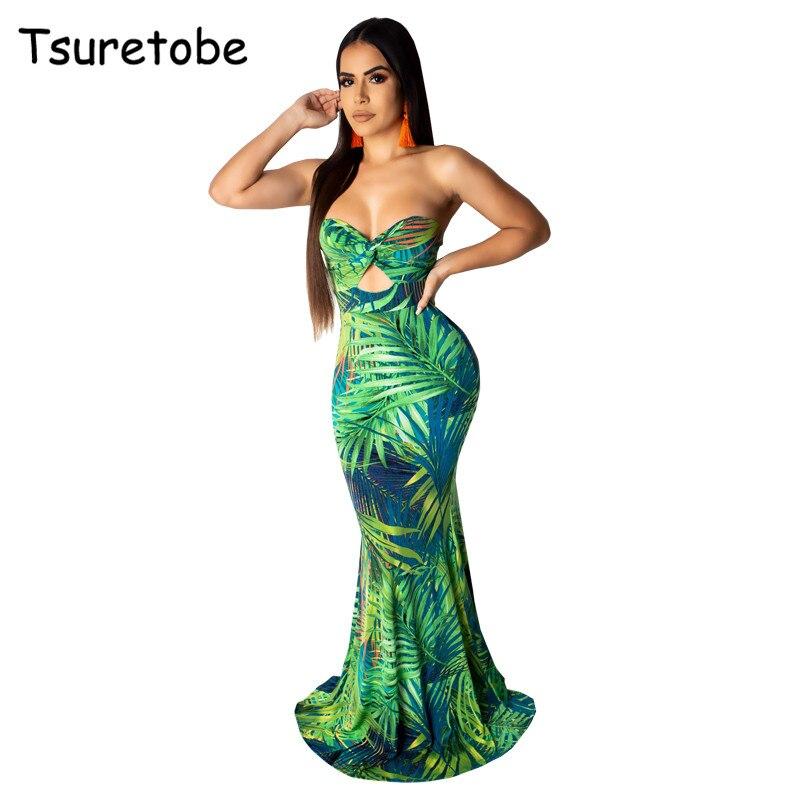Tsuretobe сексуальная печати длинное платье для женщин без бретелек плотно выдалбливают дизайн платье с открытой спиной дамы Вечеринка платья ...