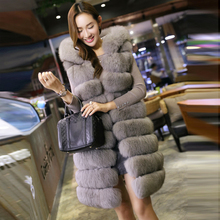 Fur 2016 full leather fashion fox fur vest women's medium-long hooded outerwear