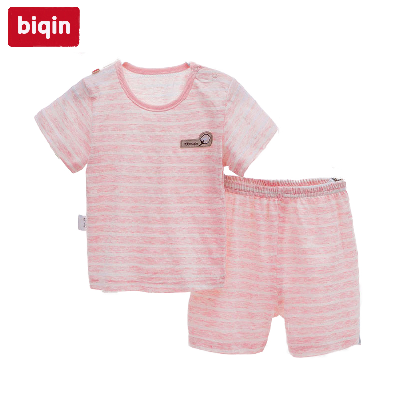 Biqin 6M-3T Undyed Colours Cotton baby children kids clothing Boy Summer Xin Jiang Cotton Hive Short Suit 6172863