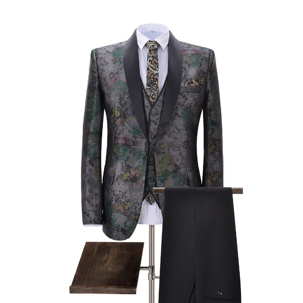 Mens Suits 3-Pieces Slim Fit Business Suits Groom Retro Noble Grey Tuxedos For Formal Wedding Plus Suits(Blazer+Pants+Vest)