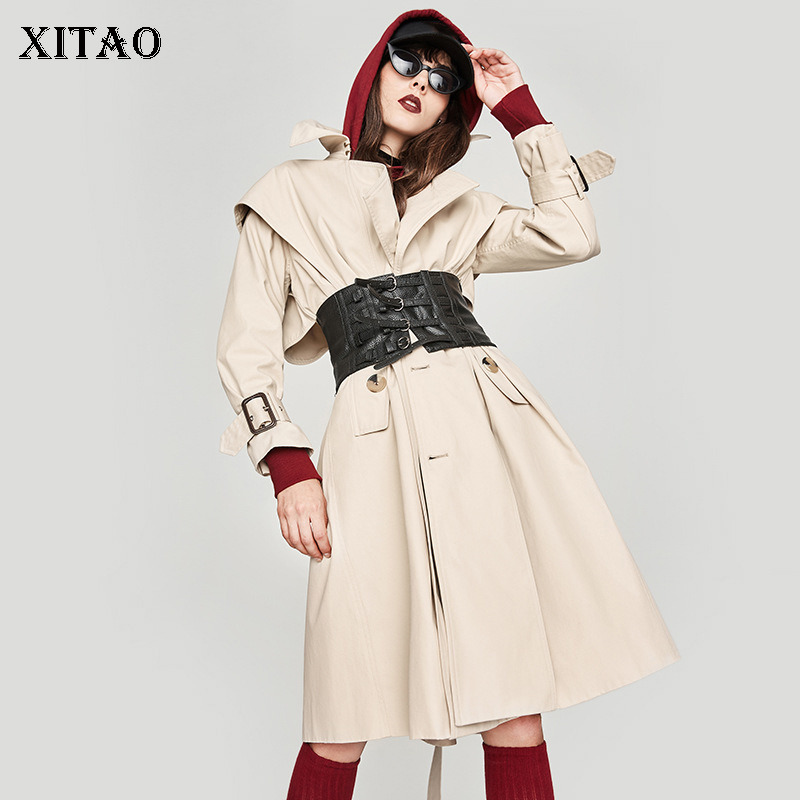 [XITAO] 2018 Autumn Europe Fashion Women Wide-waisted Single Breasted Turn-down Collar Full Sleeve Solid Color Trench LJT4208