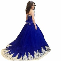 ZYLLGF New Ball Gown Sweetheart Royal Blue Bridesmaid Dress Tulle Wedding Party Dress With Gold Appliques ND1