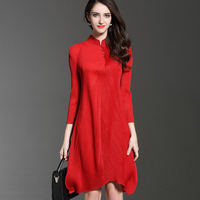 Changpleat Spring Loose Women Dress Miyak Pleated Fashion Design Stand Collar Solid 3/4 Sleeve Female Mini Dress Plus Size Tide