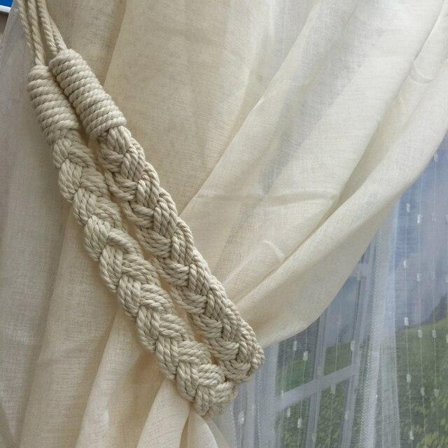2Pcs Cotton Curtain Rope Buckle Hooks Window Rome Curtain Tiebacks Hanging  Braided Band Holder Tie Back