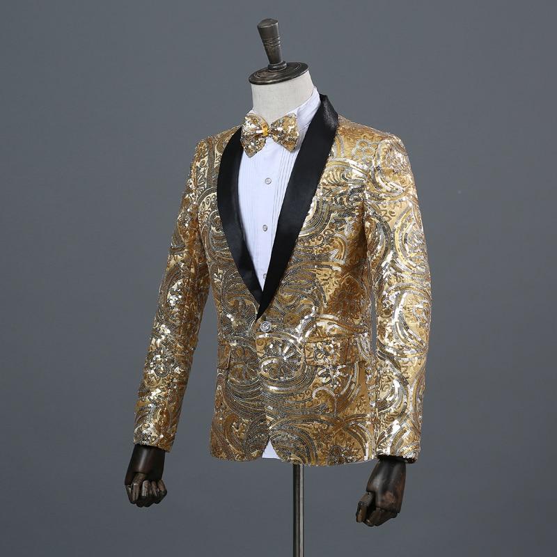 aafbdd2062265a Shiny Floral Sequins Glitter Blazer Men Slim Fit Shawl Collar Mens ...