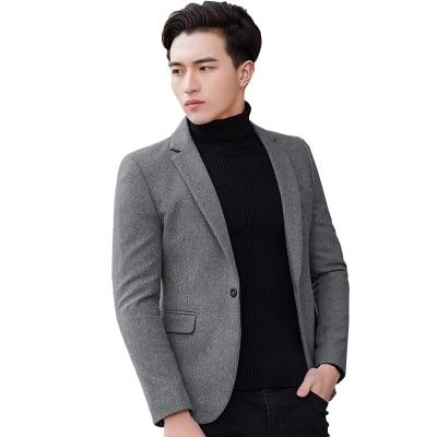 Nieuwe Mode Casual Mannen Blazer Wol Slim Fit Smart Stijl Pak Blazer Masculino Mannelijke Past Jasje Blazers Mannen M 4XL - 4