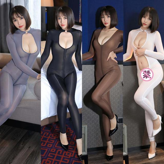 42f0c669e22 front Zipper oil shiny Crotchless sheer bodystocking Full Body pantyhose  ultra thin transparent long sleeve -in Teddies   Bodysuits from Novelty    Special ...
