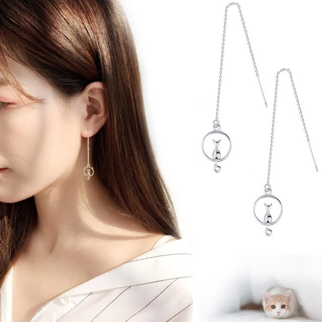 Cat on the Moon Drop Earrings