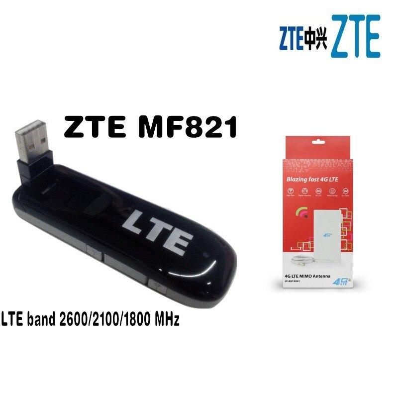 New Mobile Broadband UNLOCKED ZTE MF821 LTE 4G 3G 2G USB modem+ 4G LTE MIMO 49dBi Antenna цена
