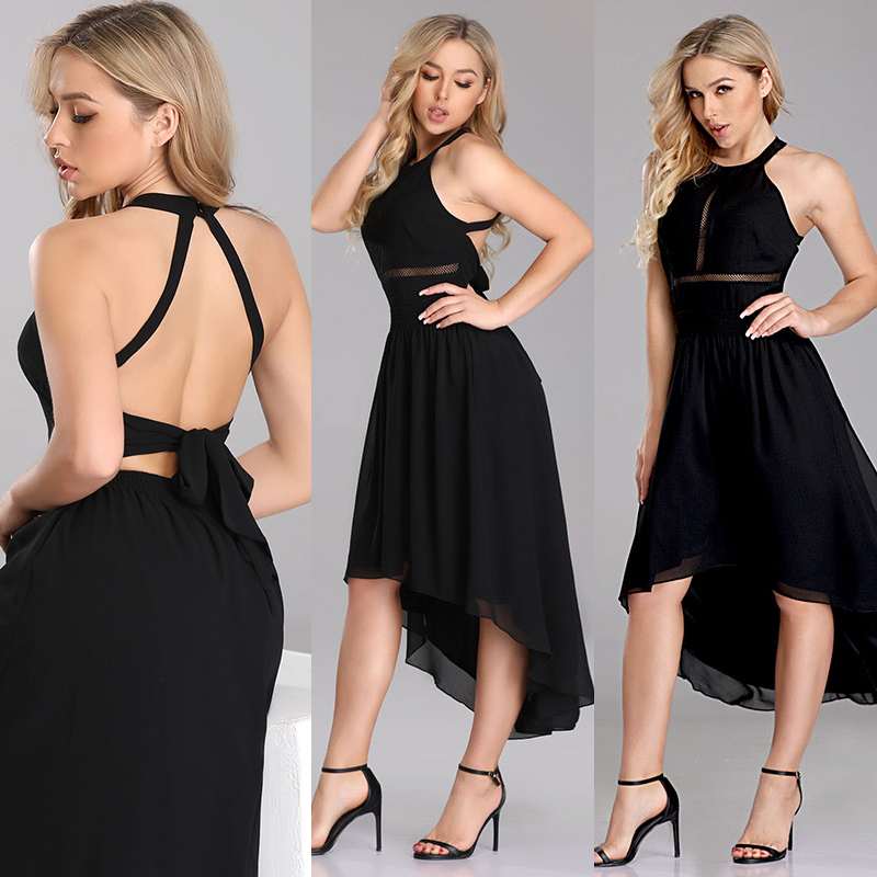 Sexy Homecoming Dresses Ever Pretty Black Sleeveless Backless Halter A-line High Low Short Evening Gowns Lace Graduation Dresses