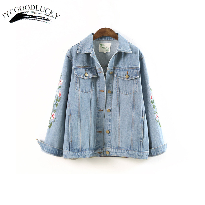 2017 Autumn   Basic     Jackets   Women New Arrival Embroidery Denim   Jacket   Coat Female All Match Jeans   Jackets   Femme Loose Coats Women