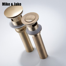 Gold brush Bathroom basin sink drain waste Pop Up Waste Vanity Vessel Sink Drain Without&with Overflow antique tap basin drains