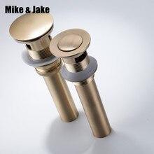 ทองแปรงห้องน้ำอ่างล้างหน้าท่อระบายน้ำเสีย Pop Up ของเสีย Vanity Vessel Sink ท่อระบายน้ำโดยไม่ต้อง & ที่มีล้นโบราณอ่างล้างหน้าท่อระบายน้ำ