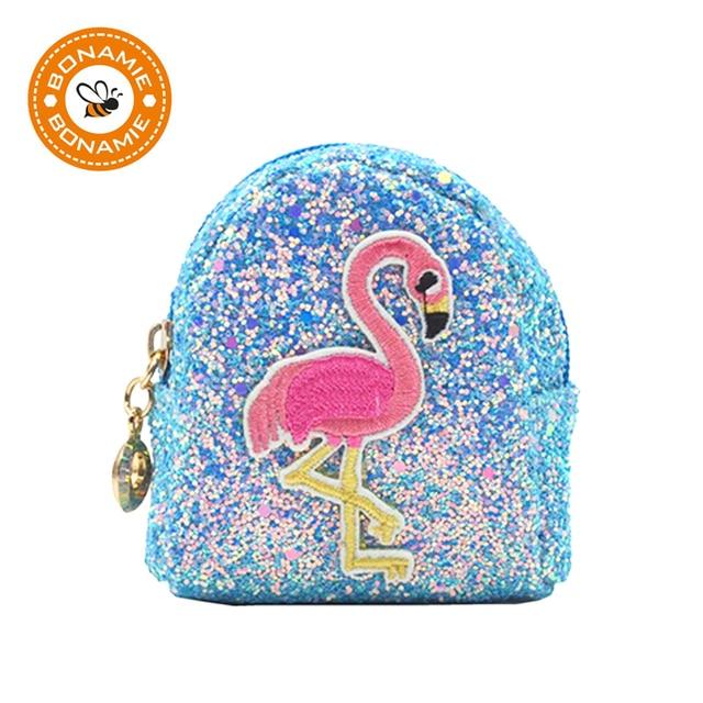 BONAMIE 5 Colors Fashion Bling Sequins Flamingo Embroidery Coin Purse  Wallet Key Chain Women Charm Make Up Bag Paillette Car Bag 0fba237ae0