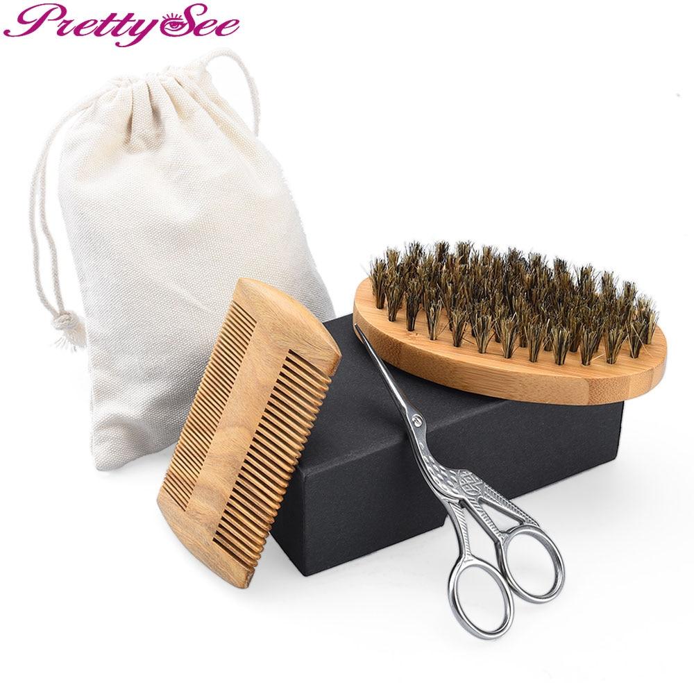 PRETTYSEE 3Pcs Burra për Furça Flokësh Handle Dru Krehje Furçë - Kujdesi dhe stilimi i flokëve